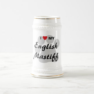 Amo (corazón) mi mastín inglés Pawprint Jarra De Cerveza