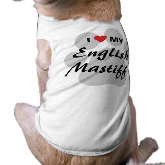 Amo (corazón) mi mastín inglés Pawprint Prenda Mascota
