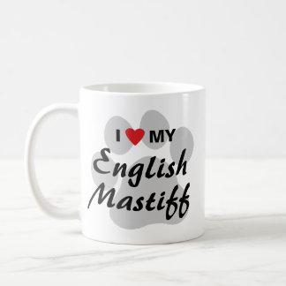 Amo (corazón) mi mastín inglés Pawprint Taza Clásica