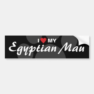 Amo (corazón) mi Mau egipcio Etiqueta De Parachoque