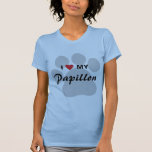 Amo (corazón) mi Papillon Pawprint Camiseta