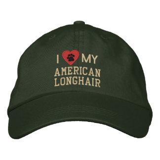 Amo (corazón) mi Pawprint de pelo largo americano Gorra De Béisbol Bordada