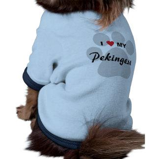 Amo (corazón) mi Pekingese Pawprint Camisas De Mascota