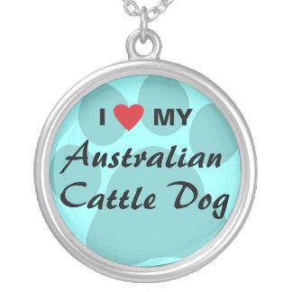 Amo (corazón) mi perro australiano del ganado colgante redondo