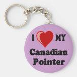 Amo (corazón) mi perro canadiense del indicador llaveros