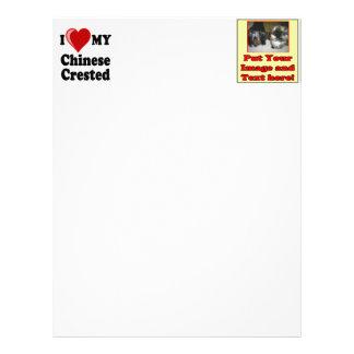 Amo (corazón) mi perro con cresta chino membrete a diseño