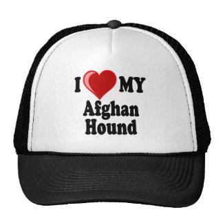 Amo (corazón) mi perro de afgano gorros bordados