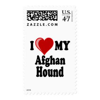 Amo (corazón) mi perro de afgano sellos