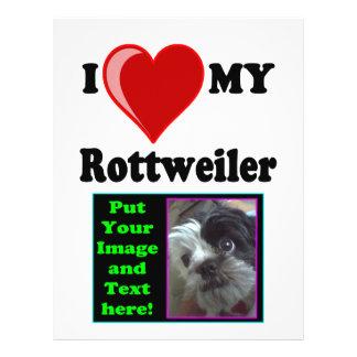 "Amo (corazón) mi perro de agua de Rottweiler Folleto 8.5"" X 11"""