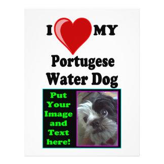 "Amo (corazón) mi perro de agua portugués folleto 8.5"" x 11"""