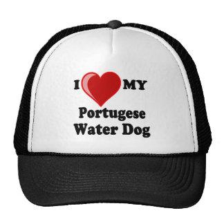Amo (corazón) mi perro de agua portugués gorras de camionero