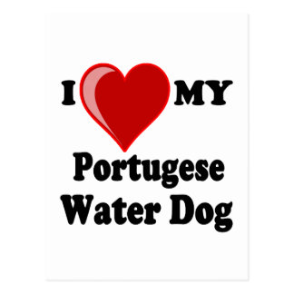 Amo (corazón) mi perro de agua portugués tarjeta postal