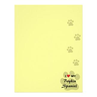 Amo (corazón) mi perro de aguas de Boykin Membrete Personalizado