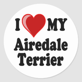 Amo (corazón) mi perro de Airedale Terrier Pegatina Redonda