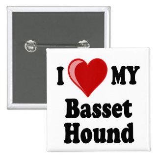 Amo (corazón) mi perro de Basset Hound Pins