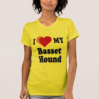 Amo (corazón) mi perro de Basset Hound Playera