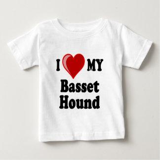 Amo (corazón) mi perro de Basset Hound Playera Para Bebé