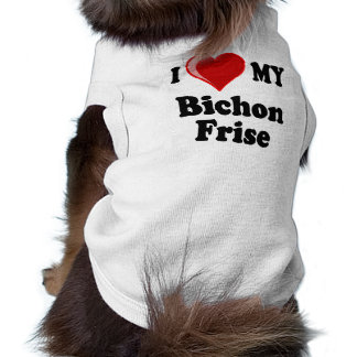 Amo (corazón) mi perro de Bichon Frise Camisa De Perrito