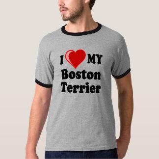 Amo (corazón) mi perro de Boston Terrier Remera