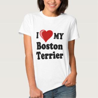 Amo (corazón) mi perro de Boston Terrier Remeras