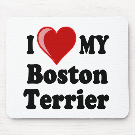 Amo (corazón) mi perro de Boston Terrier Tapetes De Ratones