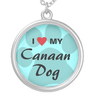Amo (corazón) mi perro de Canaan Colgante Redondo