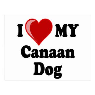 Amo (corazón) mi perro de Canaan Tarjeta Postal