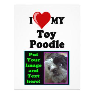 """Amo (corazón) mi perro de caniche de juguete folleto 8.5"""" x 11"""""""