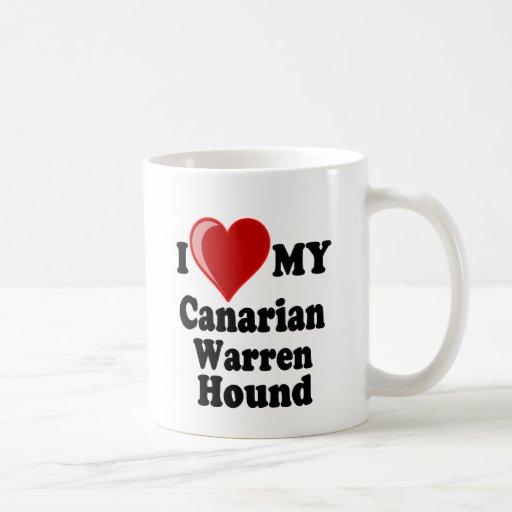 Amo (corazón) mi perro de caza canario de Warren Taza Básica Blanca