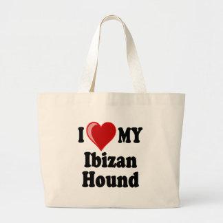Amo (corazón) mi perro de caza de Ibizan Bolsas Lienzo