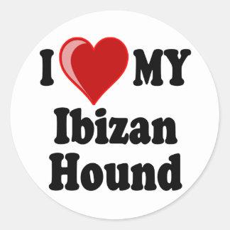 Amo (corazón) mi perro de caza de Ibizan Pegatinas Redondas