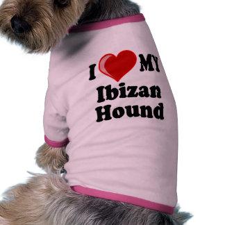 Amo (corazón) mi perro de caza de Ibizan Camisas De Perritos