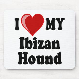 Amo (corazón) mi perro de caza de Ibizan Alfombrilla De Ratón