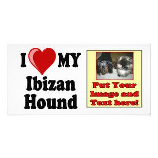 Amo (corazón) mi perro de caza de Ibizan Plantilla Para Tarjeta De Foto