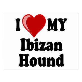 Amo (corazón) mi perro de caza de Ibizan Postal