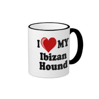 Amo (corazón) mi perro de caza de Ibizan Tazas De Café
