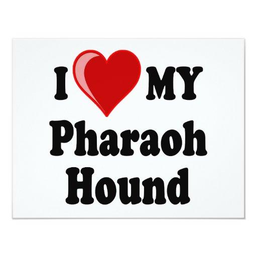 Amo (corazón) mi perro de caza del Pharaoh Invitación 10,8 X 13,9 Cm