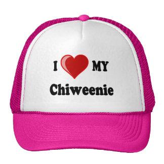 Amo (corazón) mi perro de Chiweenie Gorra