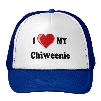 Amo (corazón) mi perro de Chiweenie Gorro De Camionero