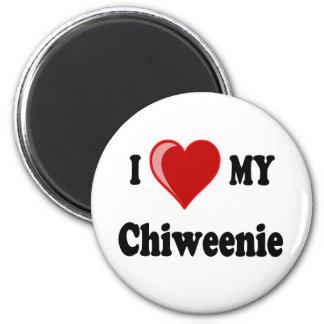 Amo (corazón) mi perro de Chiweenie Imán Redondo 5 Cm
