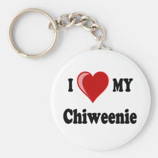 Amo (corazón) mi perro de Chiweenie Llavero Redondo Tipo Pin