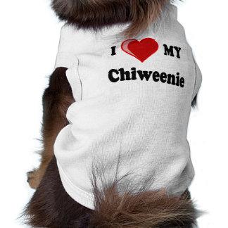 Amo (corazón) mi perro de Chiweenie Playera Sin Mangas Para Perro