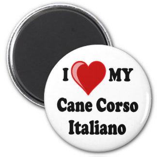 Amo (corazón) mi perro de Corso Italiano del bastó Imán De Frigorifico