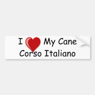 Amo (corazón) mi perro de Corso Italiano del bastó Pegatina Para Auto