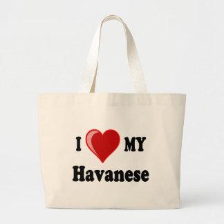 Amo (corazón) mi perro de Havanese Bolsa Tela Grande