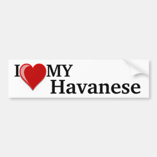 Amo (corazón) mi perro de Havanese Pegatina Para Auto