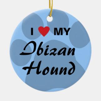 Amo (corazón) mi perro de Ibizan Adorno De Navidad