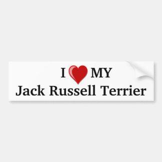 Amo (corazón) mi perro de Jack Russell Terrier Pegatina De Parachoque