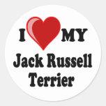 Amo (corazón) mi perro de Jack Russell Terrier Pegatina Redonda