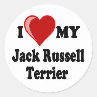 Amo (corazón) mi perro de Jack Russell Terrier Pegatinas Redondas